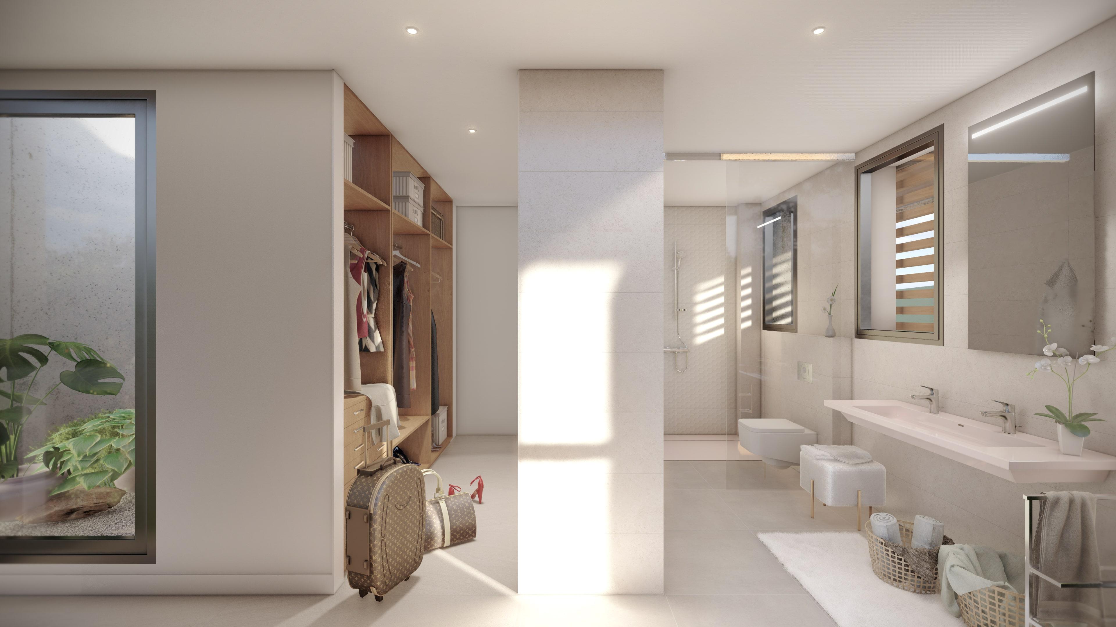 Baño vestidor y patio inglés en Nembus Valdemarín